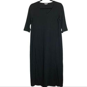PURE JILL Women's Black Lagenlook Tencel Dress Oversized XSmall Petite  J.Jill